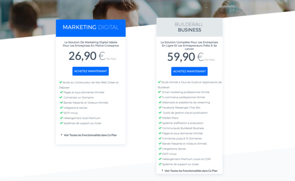 Les deux nouveaux plans de Builderall 3.0: le plan Marketing Digital et le plan Builderall Business