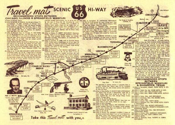 Un plan d'époque de la Route 66