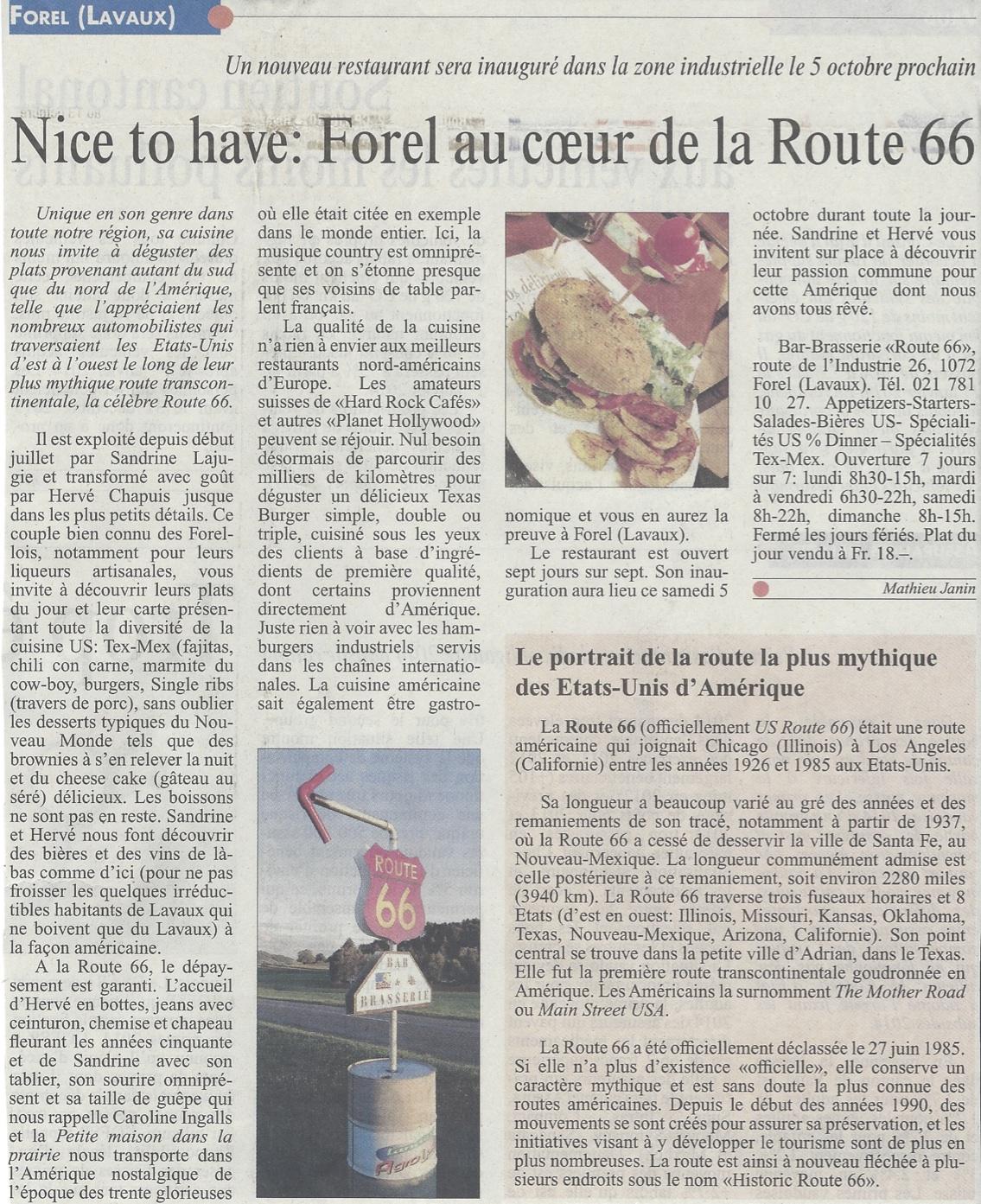 L'article original du Courrier de Lavaux et région d'Oron dans lequel a été publié l'article